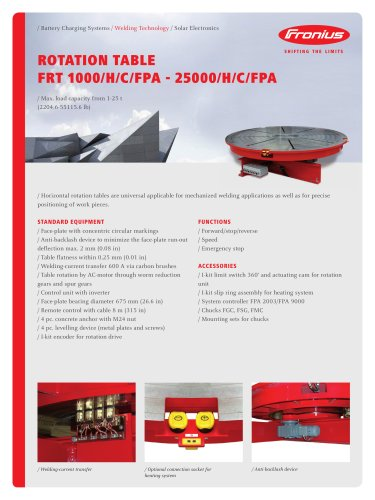 ROTATION TABLE FRT 1000/H/C/FPA - 25000/H/C/FPA