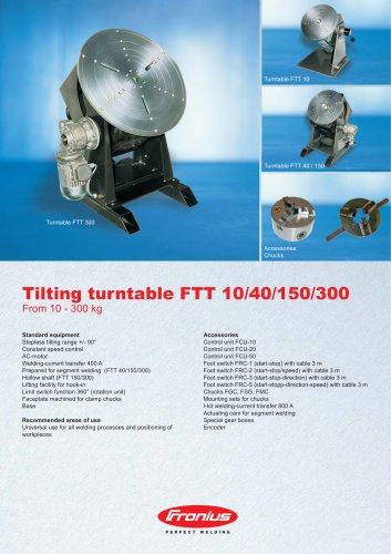 Tilting turntable FTT 10/40/150/300
