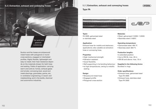 Extraction, exhaust and conveying hoses