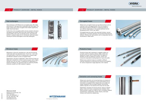 Product Overview - Metal Hoses