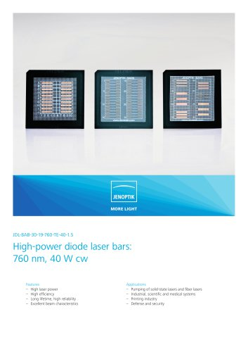 High-power diode laser bars: 760 nm, 40 W cw