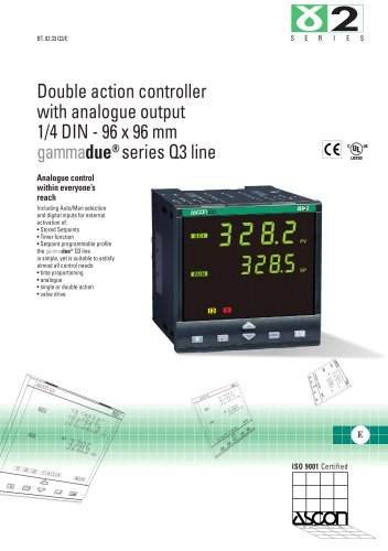 Double action controller with analogue output 1/4 DIN - 96 x 96 mm