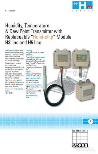 Humidity, Dew Point and Temperature transmitters - H3 and H5 series