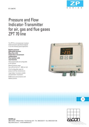Pressure and Flow Indicator-Transmitter for air, gas and flue gases ZPT 70 line