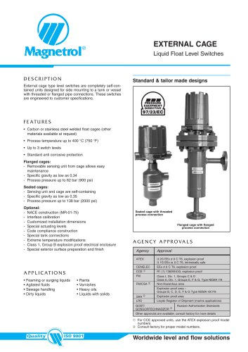 Flanged Top External Caged Liquid Level Switches