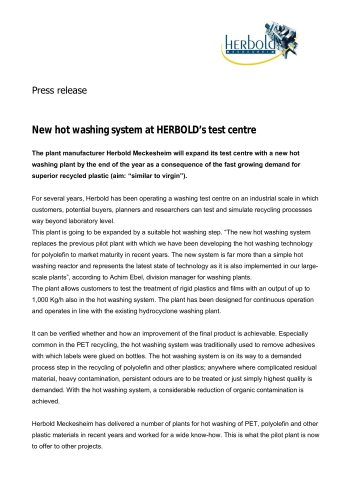New hot washing system at HERBOLD's test centre