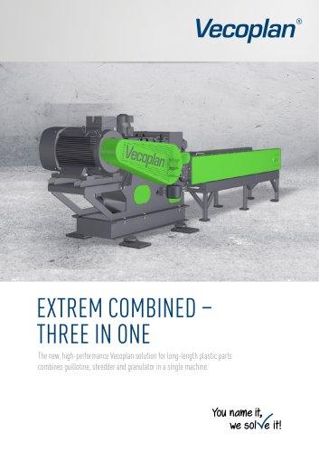 Horizontal grinder for long-length plastic parts