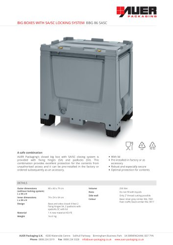 BIG BOXES WITH SA/SC LOCKING SYSTEM BBG 86 SASC