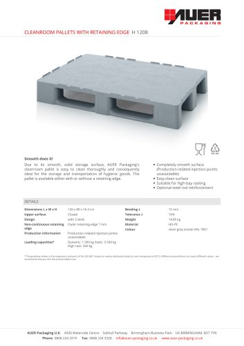 CLEANROOM PALLETS WITH RETAINING EDGE H 1208