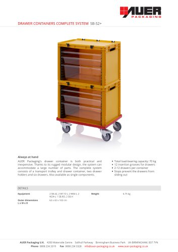 DRAWER CONTAINERS COMPLETE SYSTEM SB-S2+