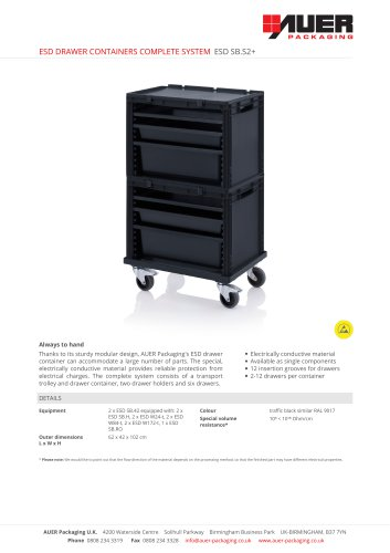ESD DRAWER CONTAINERS COMPLETE SYSTEM ESD SB.S2+