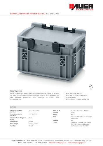 EURO CONTAINERS WITH HINGE LID ED 21512 HG