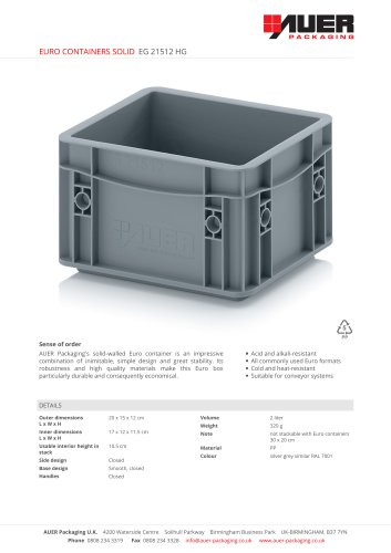EURO CONTAINERS SOLID EG 21512 HG
