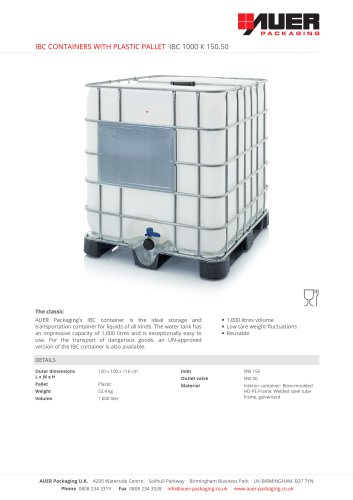 IBC CONTAINERS WITH PLASTIC PALLET IBC 1000 K 150.50