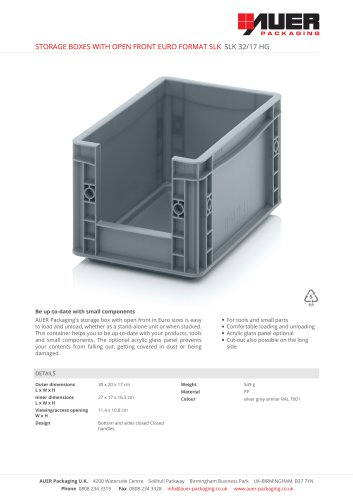 STORAGE BOXES WITH OPEN FRONT EURO FORMAT SLK SLK 32/17 HG