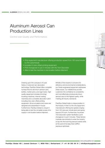 Aluminum Aerosol Can Production Lines