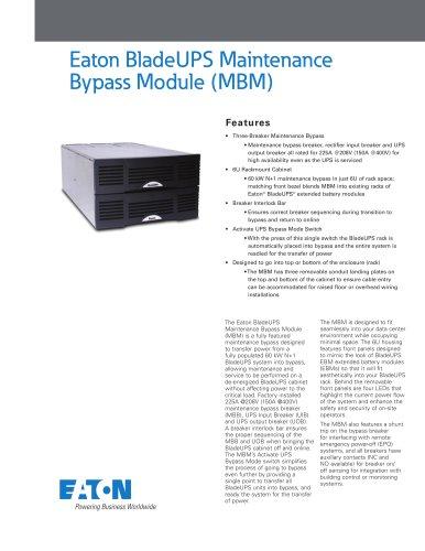 Eaton BladeUPS MBM Brochure
