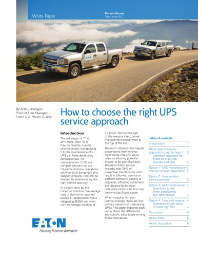How to choose the right UPS service approach