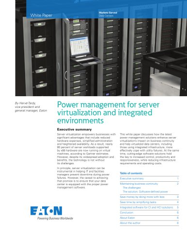 Power management for server virtualization and integrated environments