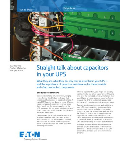 Straight talk about capacitors in your UPS