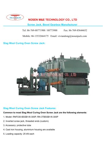Slag Wool Curing Oven Screw Jack
