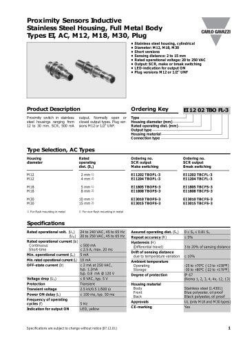 Inductive Proximity Sensors  EI1202TBCFL-3