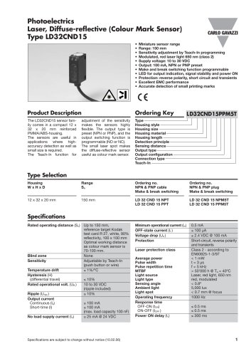 Photoelectrics Laser, Diffuse-reflective (Colour Mark Sensor) Type LD32CND15