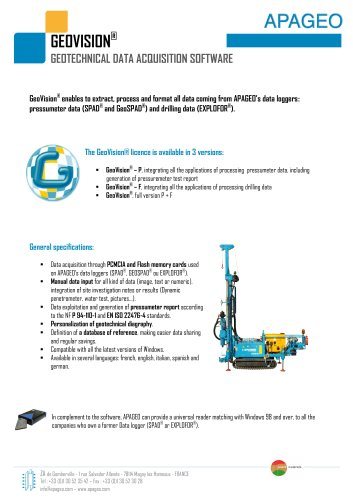 GEOVISION - Geotechnical data acquisition software