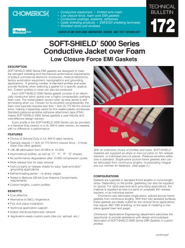 SOFT-SHIELD® 5000 Series Conductive Jacket over Foam continued Low Closure Force EMI Gaskets