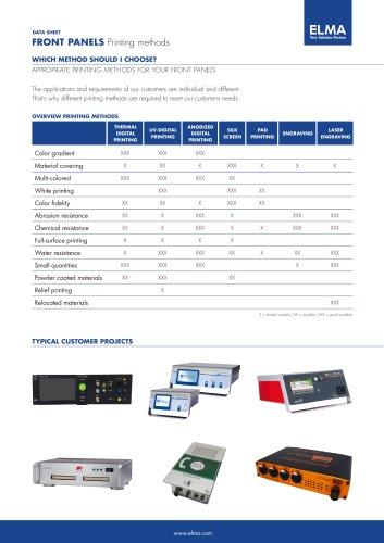 Front Panel Printing Methods