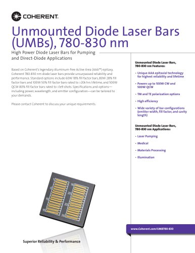 Unmounted Diode Laser Bars (UMBs), 780-830 nm