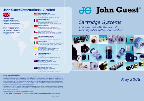 John Guest® Cartridge Systems Catalogue