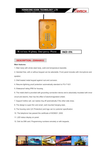 Emergency call box KNZD-09A GSM with keypad