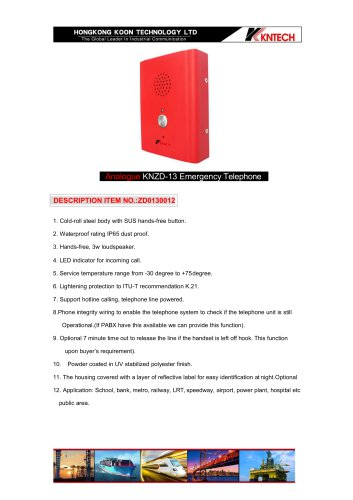 Emergency call box KNZD-13 analogue