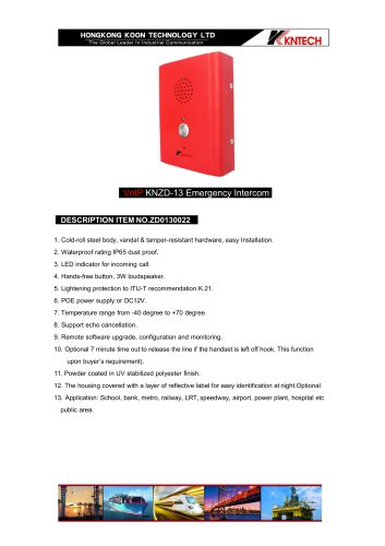 Emergency call box KNZD-13 VoIP