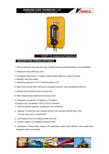 emergency telephone KNSP-16 with LCD display VoIP