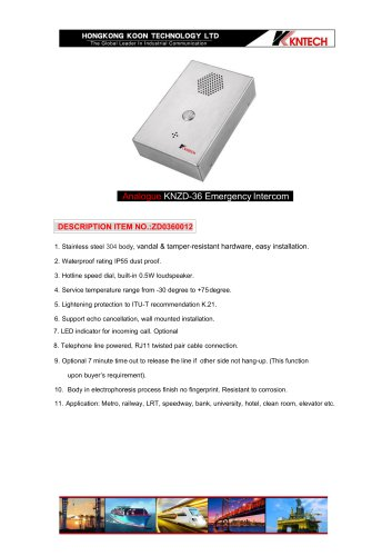 Handsfree wallmounted intercom KNZD-36 analogue