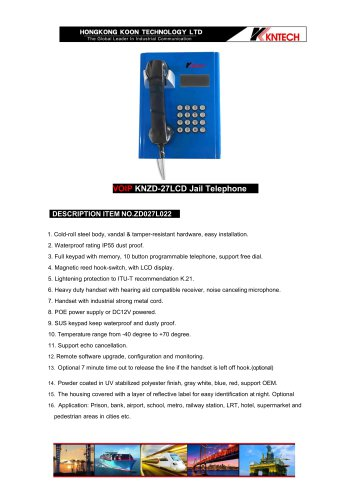 Inmate telephone KNZD-27LCD VoIP