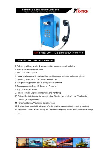 Roadside telephone KNZD-09A-1T2S VoIP