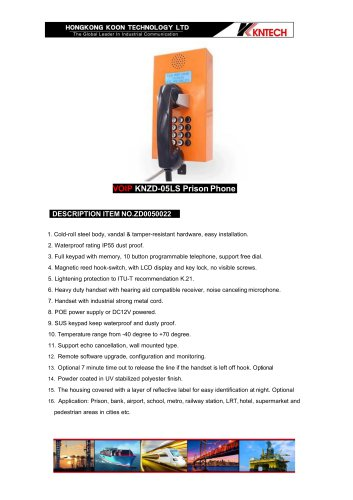Robust prison telephone KNZD-05LS VoIP