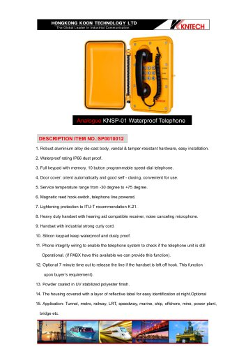 Waterproof Analogue Emergency telephone KNSP-01T3J
