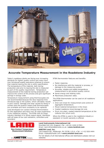 RT8A - Accurate Temperature Measurement in the Roadstone Industry