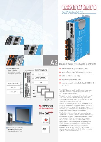 A2 - Programmable Automation Controller with EtherCAT or Sercos® Master Interface