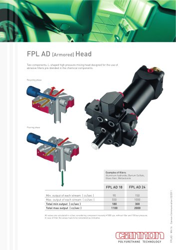 FPL AD Mixing Head: two components head designed for the use of pre-blended abrasive fillers