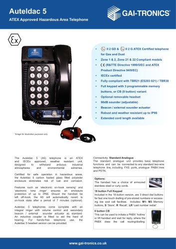 Auteldac 5 - ATEX Approved Hazardous Area Telephone