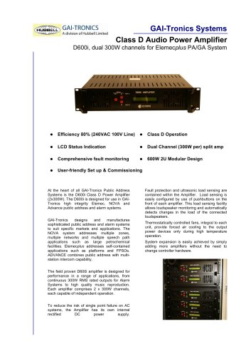 D600i Class D Audio Power Amplifier for PA/GA Systems