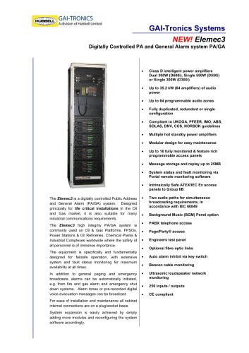 Elemec3 - digitally controlled PA and General Alarm system PA/GA
