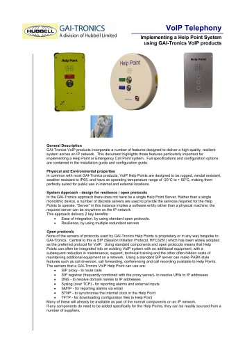 Implementing a Help Point System using GAI-Tronics VoIP products