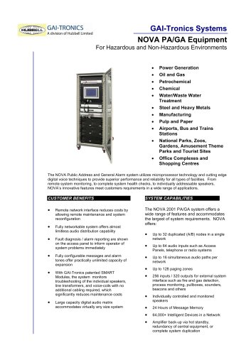 NOVA PA/GA Equipment For Hazardous and Non-Hazardous Environments