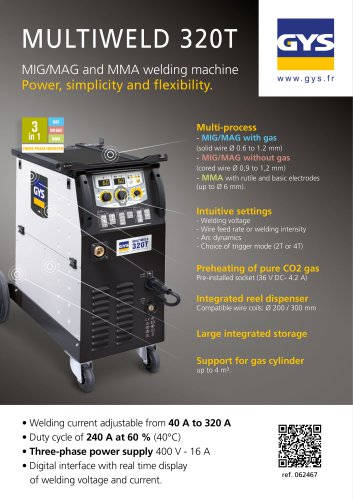 MULTIWELD 320T - MIG/MAG, cored wire and MMA welding processes